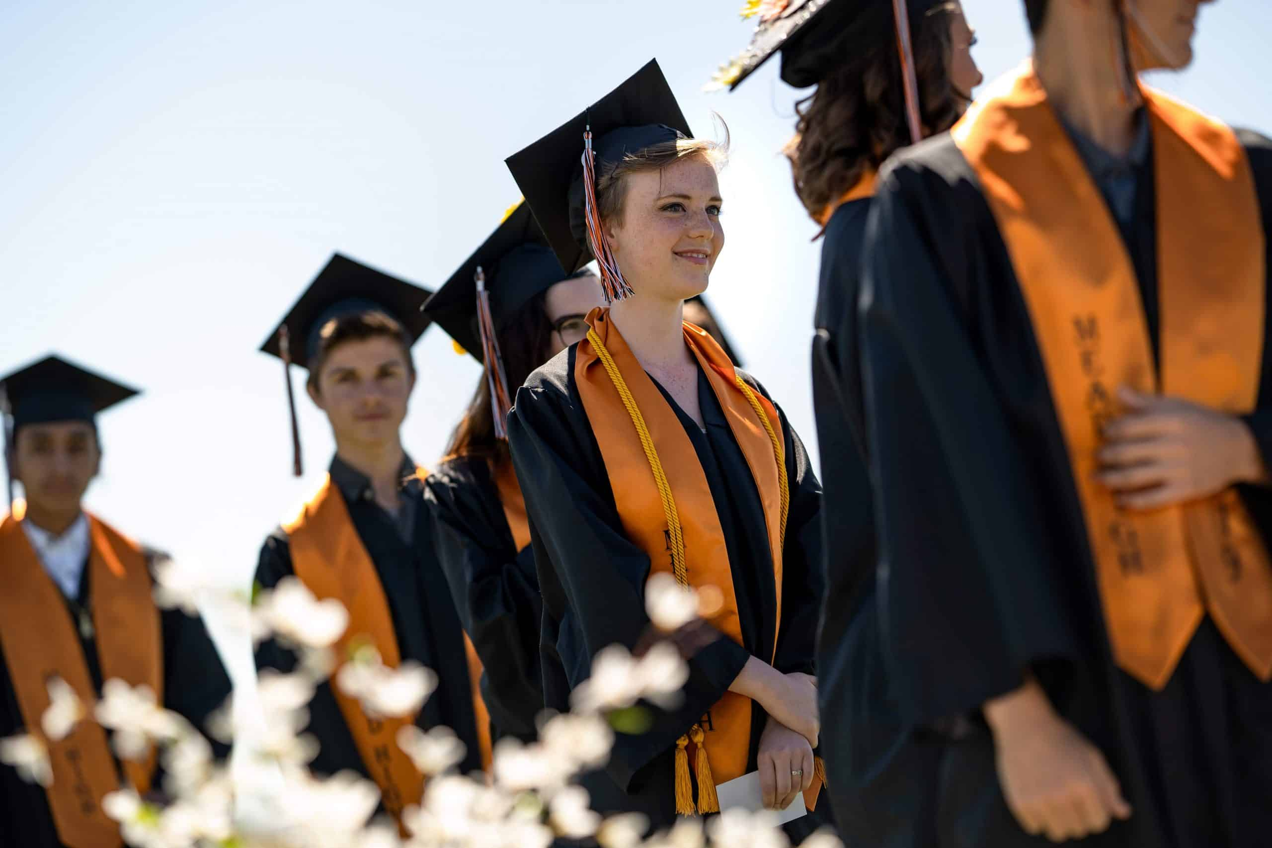Mead High School Graduates Lining up to receive their diplomas